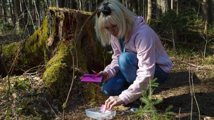 Frau in Hocke vor Geocaching Dose