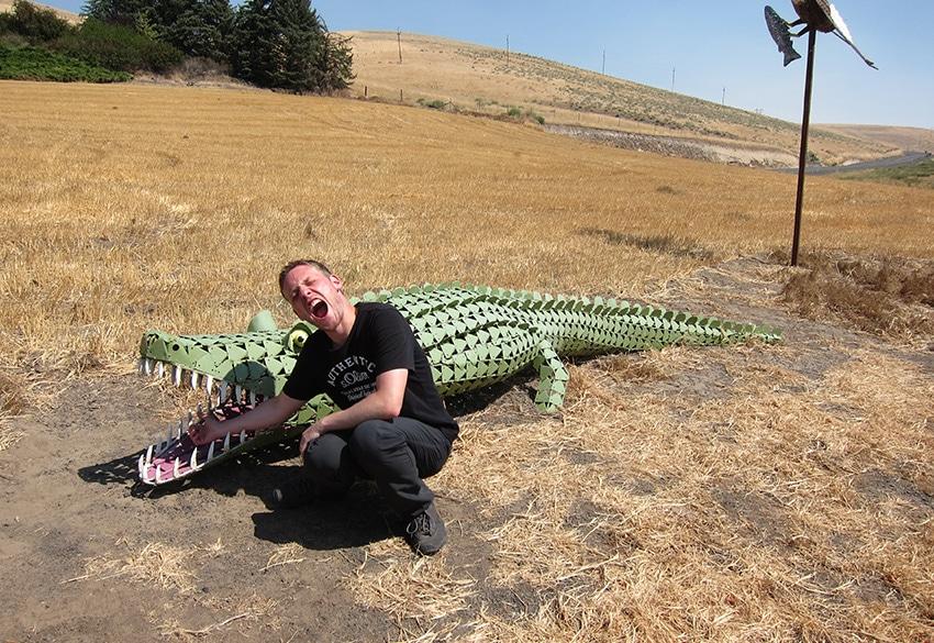 Mann streckt Arm in das Mail eines Plastik-Krokodiles
