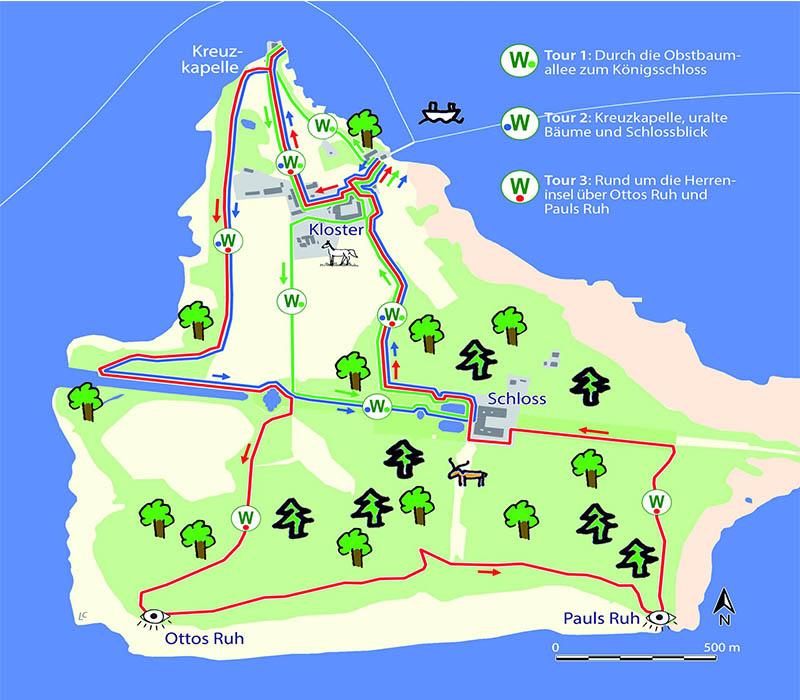 Karte von der Insel Herrenchiemsee