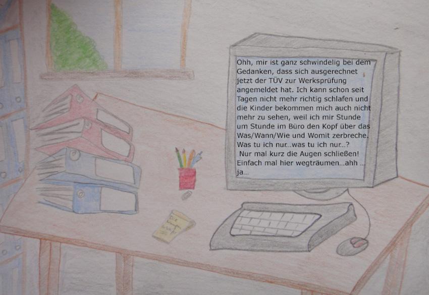 Zeichung Schreibtisch mit Computer und Ordner