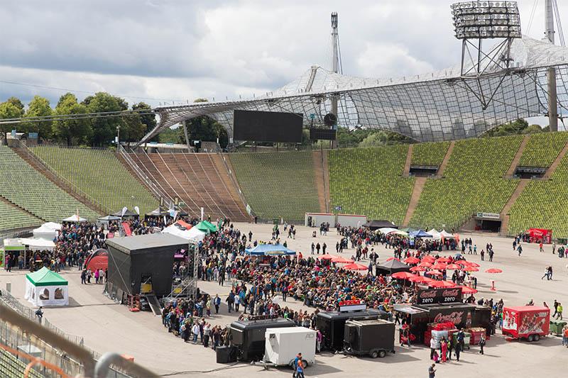 Stadion in München mit einem Festival