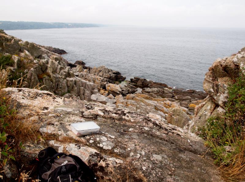 Geocache an Wanderweg am Meer